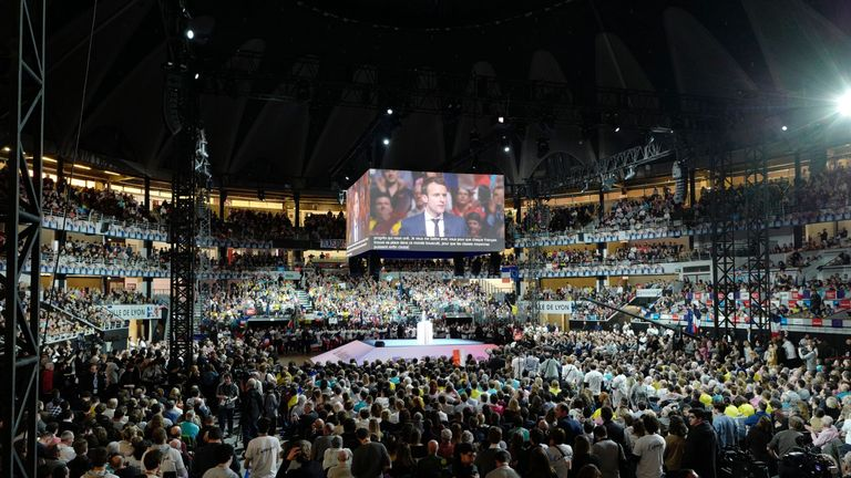 Packed out: Mr Macron draws big crowds - the Lyon rally was packed with 8,000, with more outside