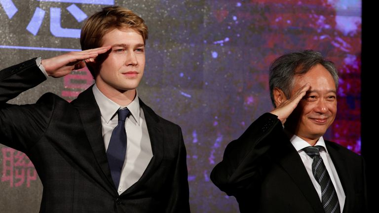 Ang Lee (R) and Joe Alwyn at an event for the director's new film Billy Lynn's Long Halftime Walk