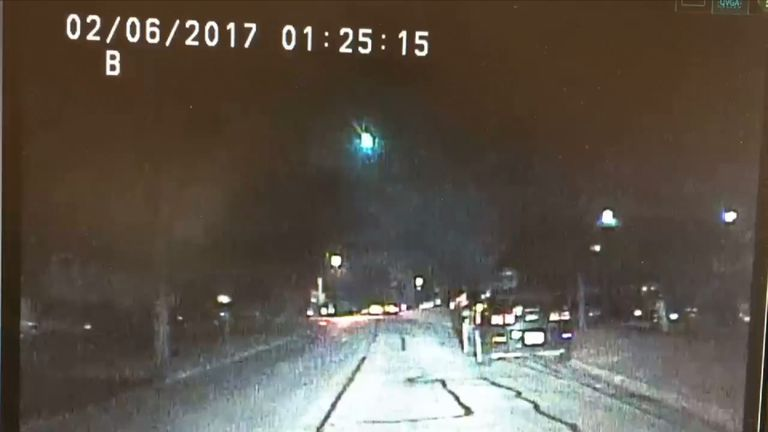 A meteor over Lisle, Illinois, caught by the dashcam of police officer James Dexter. Pic: Lisle Police Department
