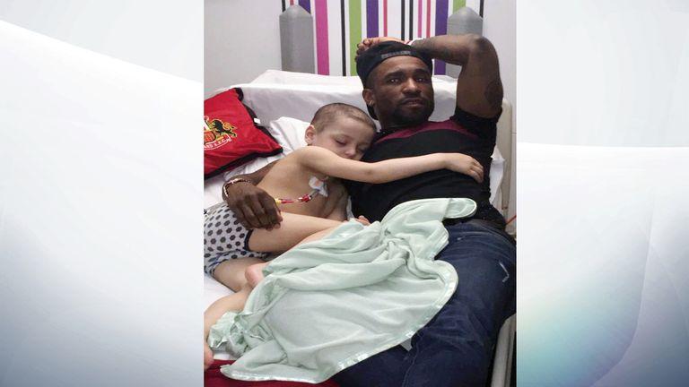 Bradly falls asleep next to his hero Jermain Defo