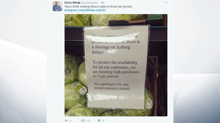 Some Tesco branches are taking precautions to protect lettuce supplies. Pic: @chrisfruitnet