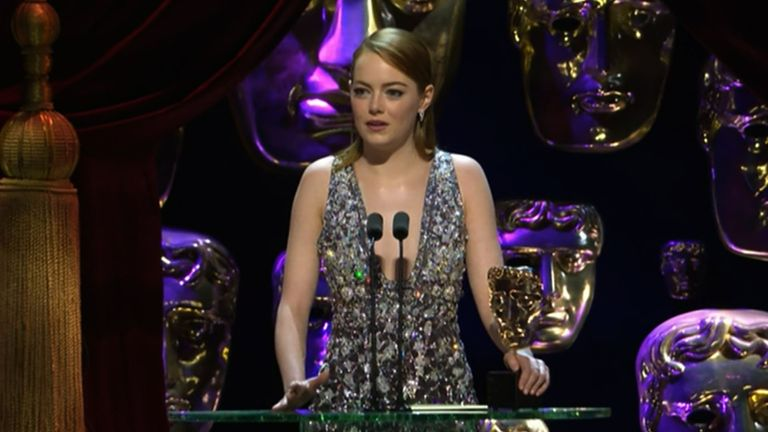 Emma Stone strikes a subtle political note in her BAFTA acceptance speech. Pic: BAFTA / BBC