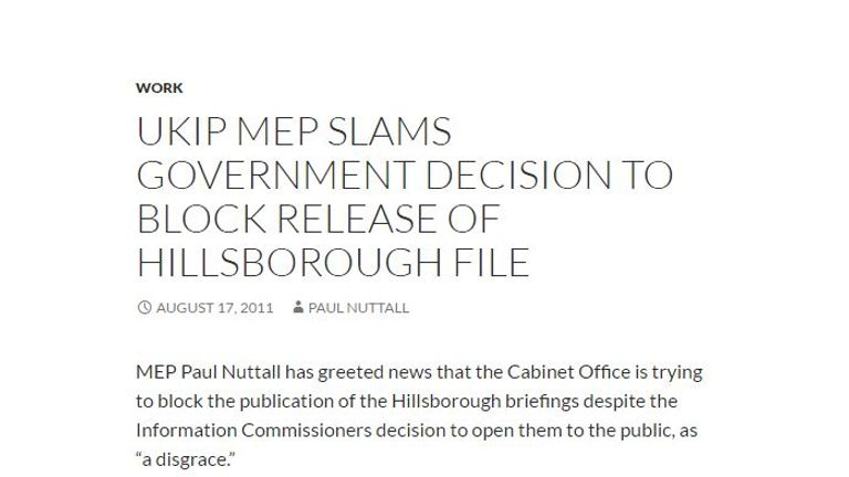 A screen grab from Paul Nuttall's website