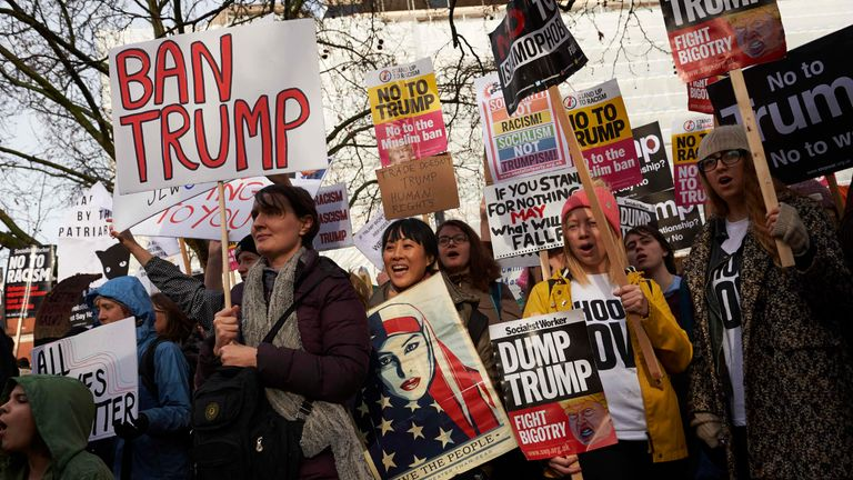 Thousands of protesters have gathered to protest against Trump's state visit