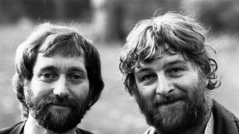 Comical cockney musical duo Chas and Dave, Chas Hodges, right, (piano and vocals) and Dave Peacock (bass and vocals) in 1982