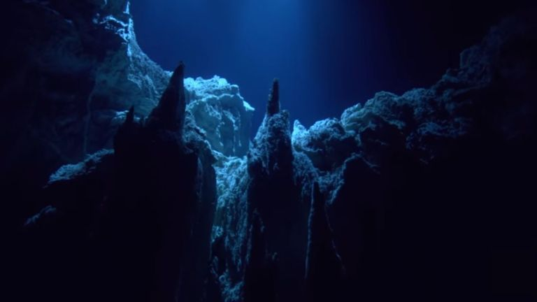 The Mariana Trench filmed during James Cameron's Deepsea Challenge mission