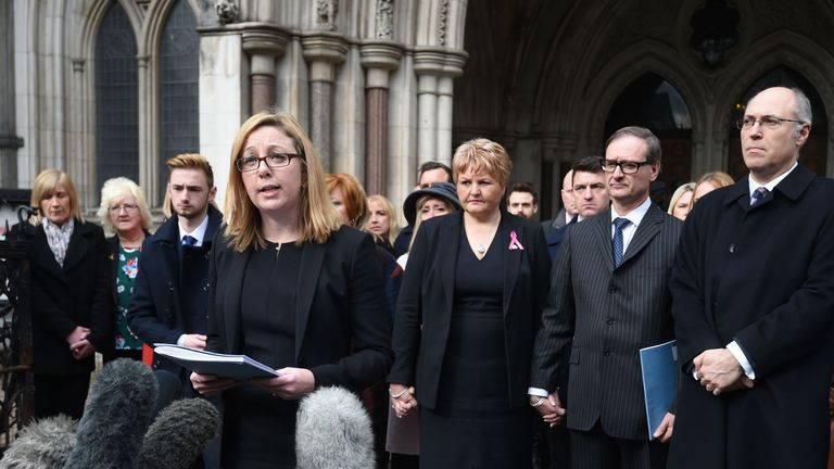 Kylie Hutchison from Irwin Mitchell reads out a statement on behalf of the relatives of the 30 Britons killed in the June 2015 Tunisia beach massacre