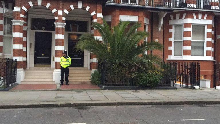 Police outside Tara Palmer-Tomkinson's home in London