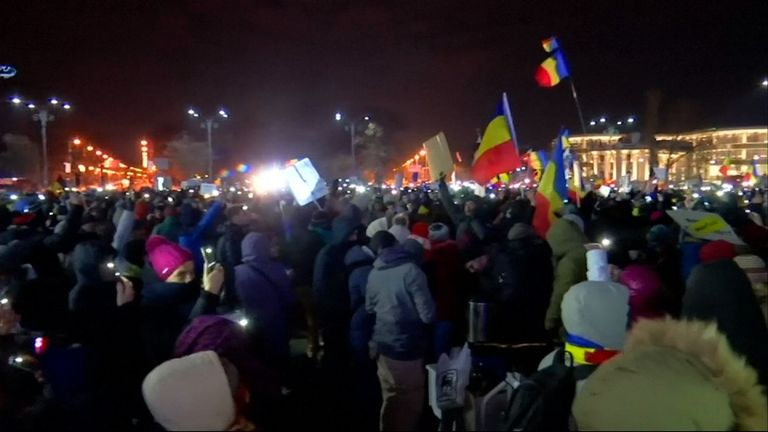 Anti-government protests continued in Bucharest following  the resignation of Justice Minister Florin Iordache