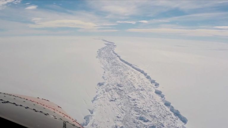 The ice crack has formed in the Larsen C Ice Shelf
