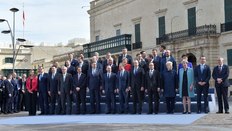 The 'family' photo of EU leaders at the summit in Malta