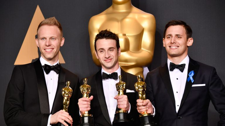 Best Original Song: City Of Stars, La La Land - Justin Paul (L), Justin Hurwitz (C) and Benj Pasek (R)