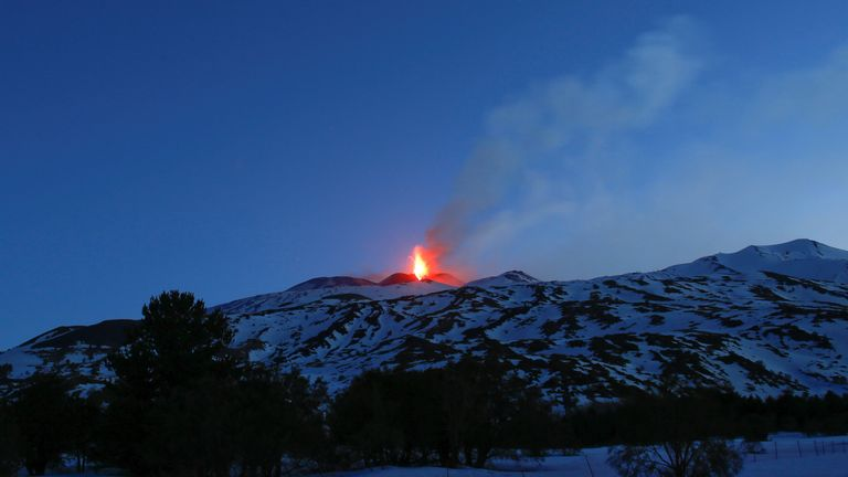 Italy's Mount Etna, Europe's tallest and most active volcano, spews lava as it erupts on the southern island of Sicily, Italy February 28, 2017
