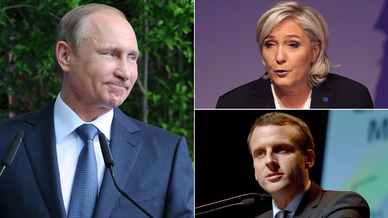 Vladimir Putin, Marine Le Pen and Emmanuel Macron