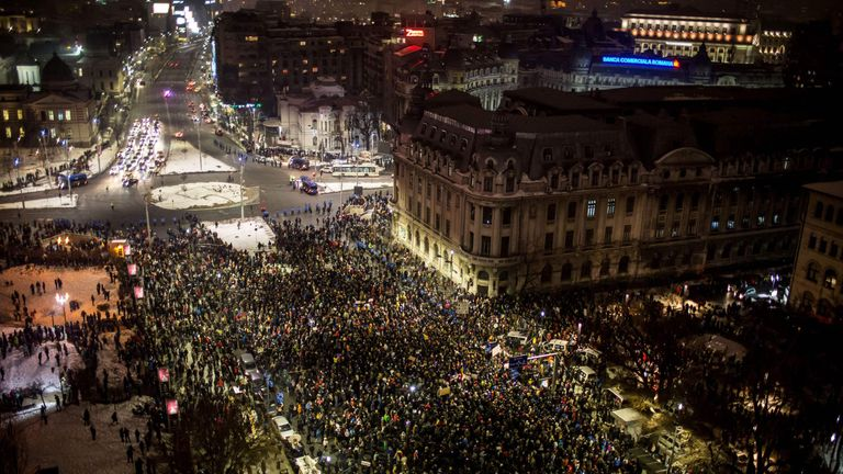A protest against anti- corruption in Bucharest