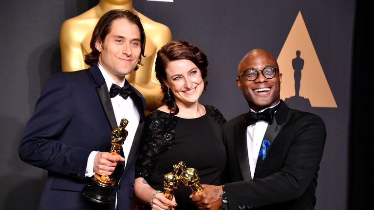 Best Picture: Moonlight, Jeremy Kleiner (L) Adele Romanski (C) and  Barry Jenkins (R)