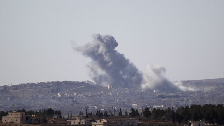 Smoke rises from the northern Syrian town of al-Bab, Syria February 1, 2017