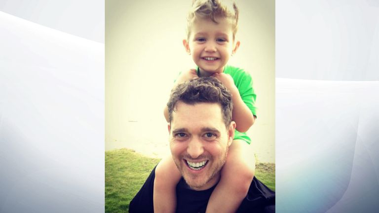 Michael Buble and his son Noah