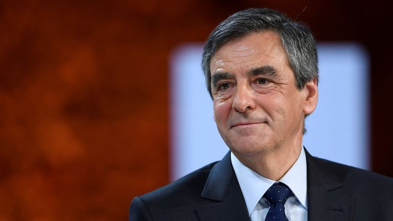 Francois Fillon takes part in France's presidential election campaign
