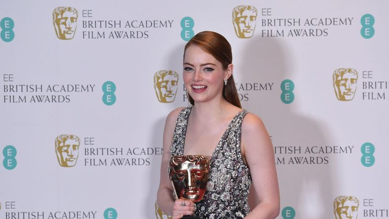 Emma Stone wins the best actress award at the BAFTAs