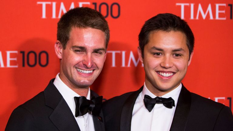 Evan Spiegel (L) and Bobby Murphy