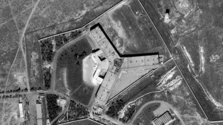 Aerial picture of Saydnaya prison in Syria. Pic: Amnesty International