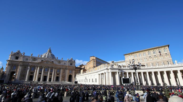 Pope Francis leads the Angelus prayer on Epiphany day in Saint Peter's Square at the Vatican