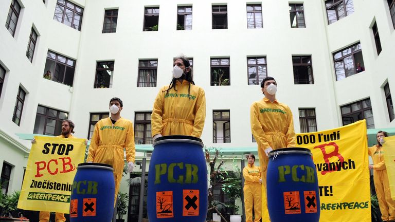 A Greenpeace protest in 2009 against PCB contamination