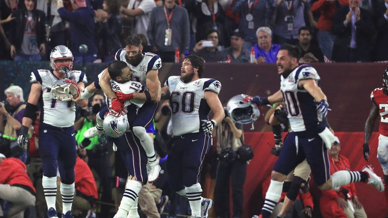 Tom Brady  12 of the New England Patriots celebrates after defeating the Atlanta  Falcons be14b9aba