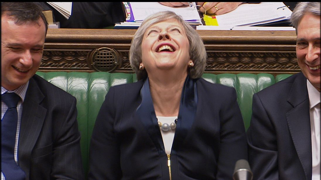 Theresa May dissolves in laughter at PMQs