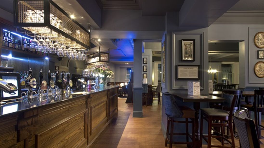 The bar inside Wetherspoon's Yarborough Hotel in Grimsby
