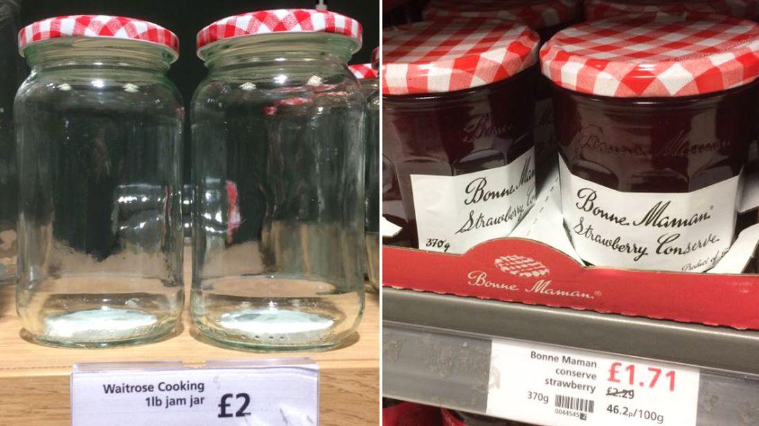 Jam jars in Waitrose. Pic: John Kilbride
