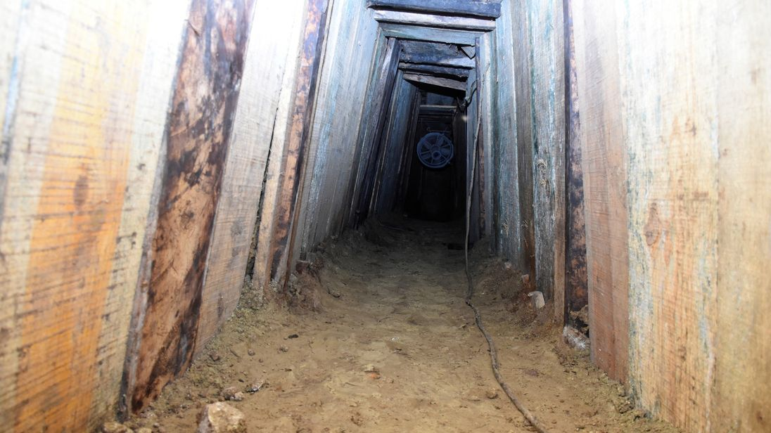The interior of a 40-metre tunnel, through which 29 inmates escaped from a prison, according to local media, is pictured in Ciudad Victoria, in Tamaulipas state, Mexico March 24, 2017