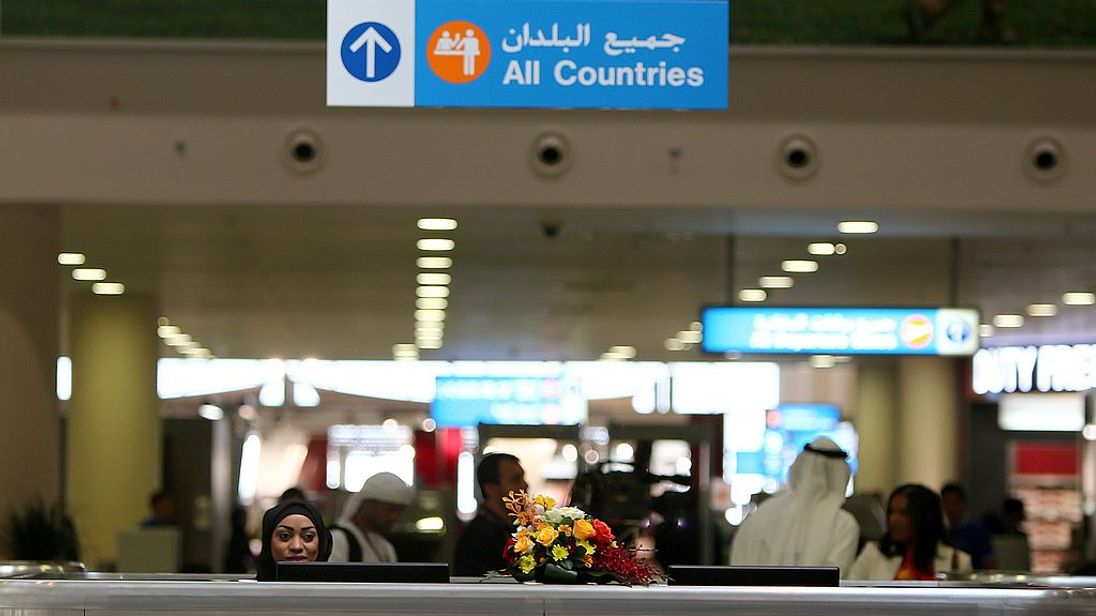 Passport control at Dubai's al Maktoum airport