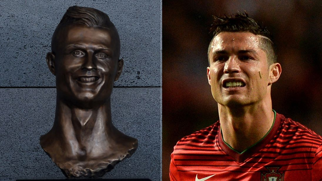 The bust - and the real footballer