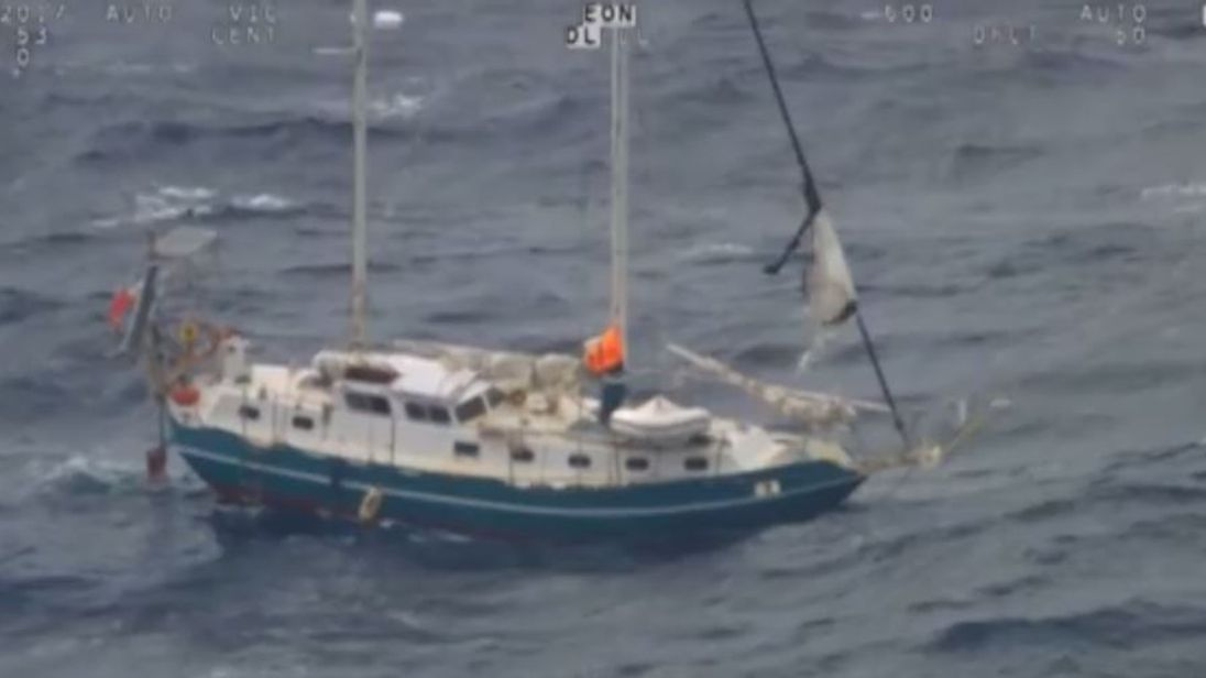 A yacht struck bad seas between New Zealand and Australia. Pic: Australian Maritime Safety Authority