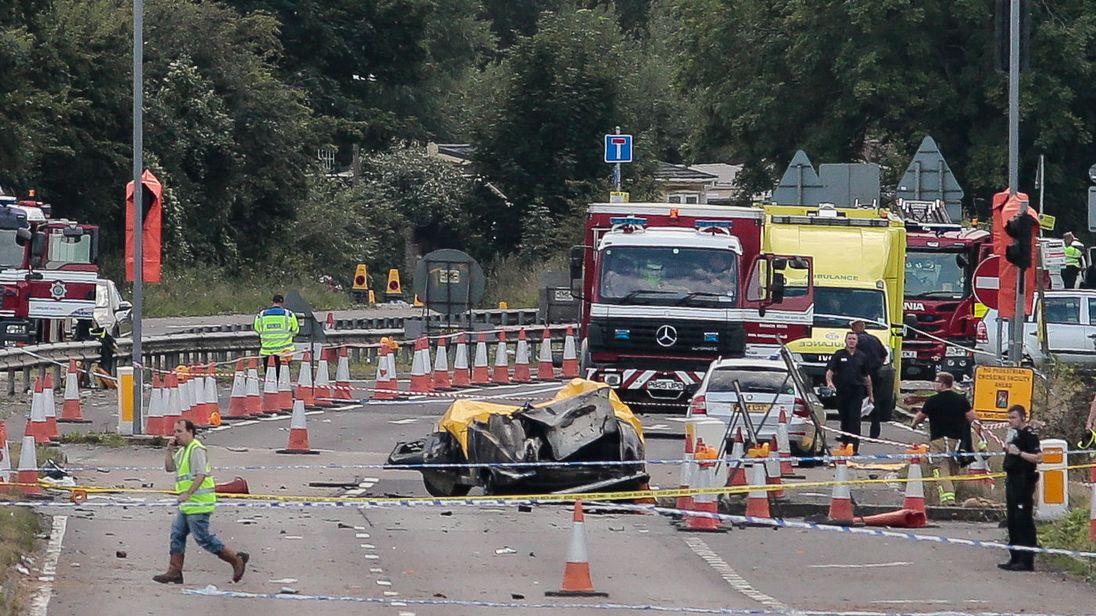 Emergency services at the scene of the Shoreham crash