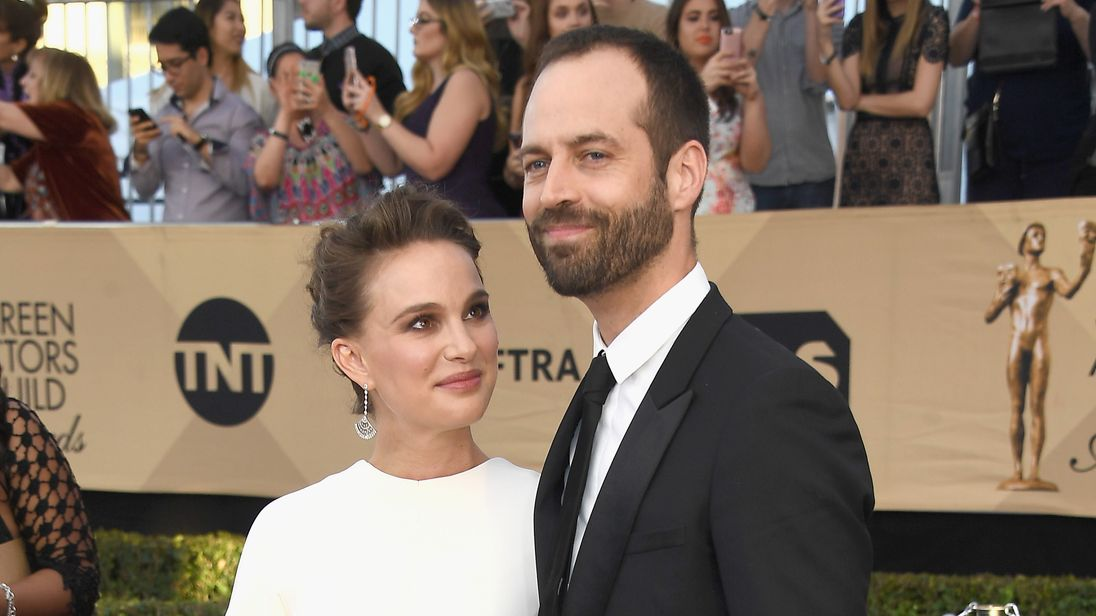 Natalie Portman and husband Benjamin Millepied at the SAG awards in Los Angeles in January