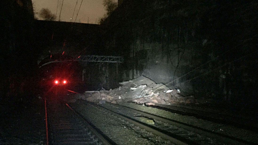 Rubble was spread across four railway lines