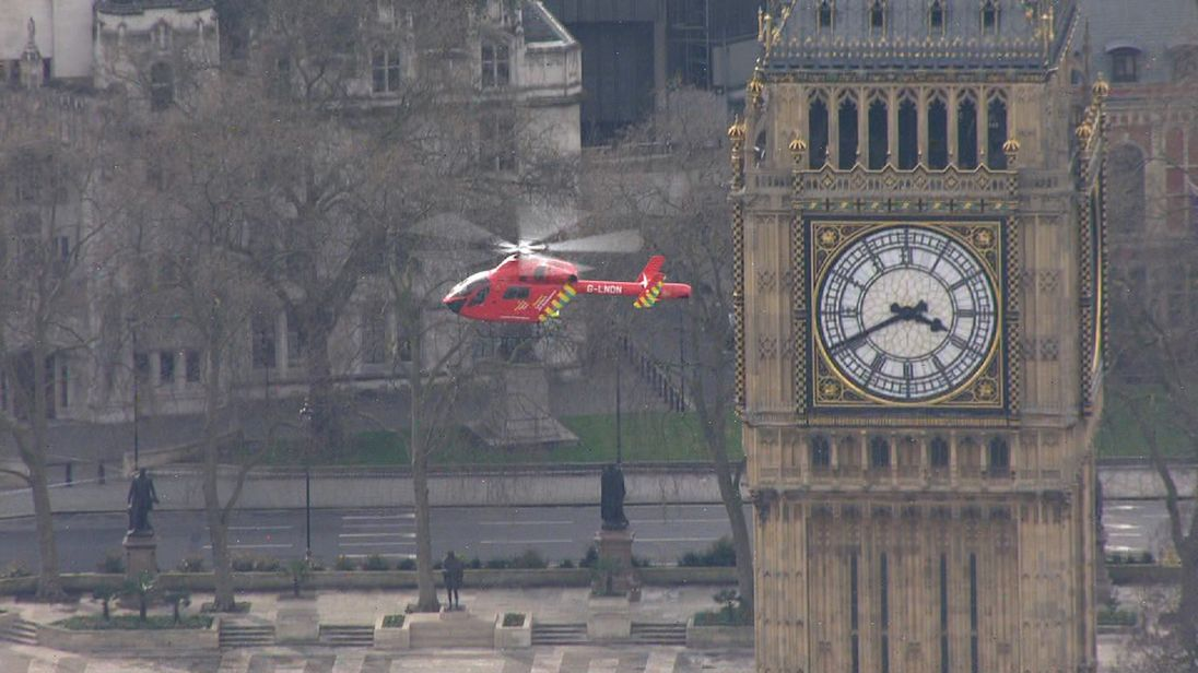 Emergency service helicopter takes off from Parliament Square after firearms incident