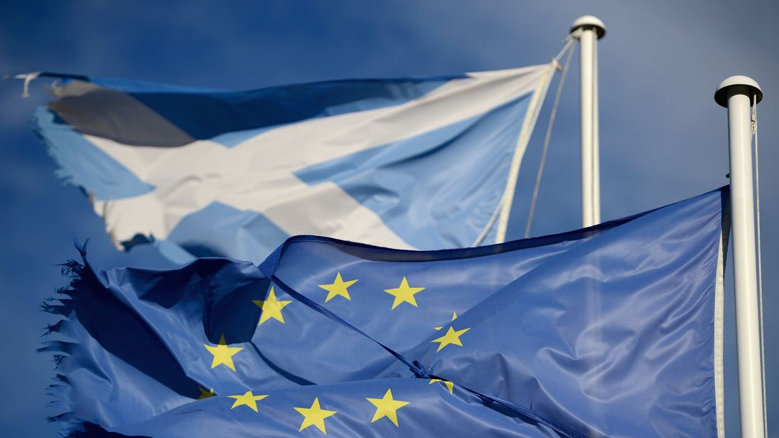 The Scottish and EU flags