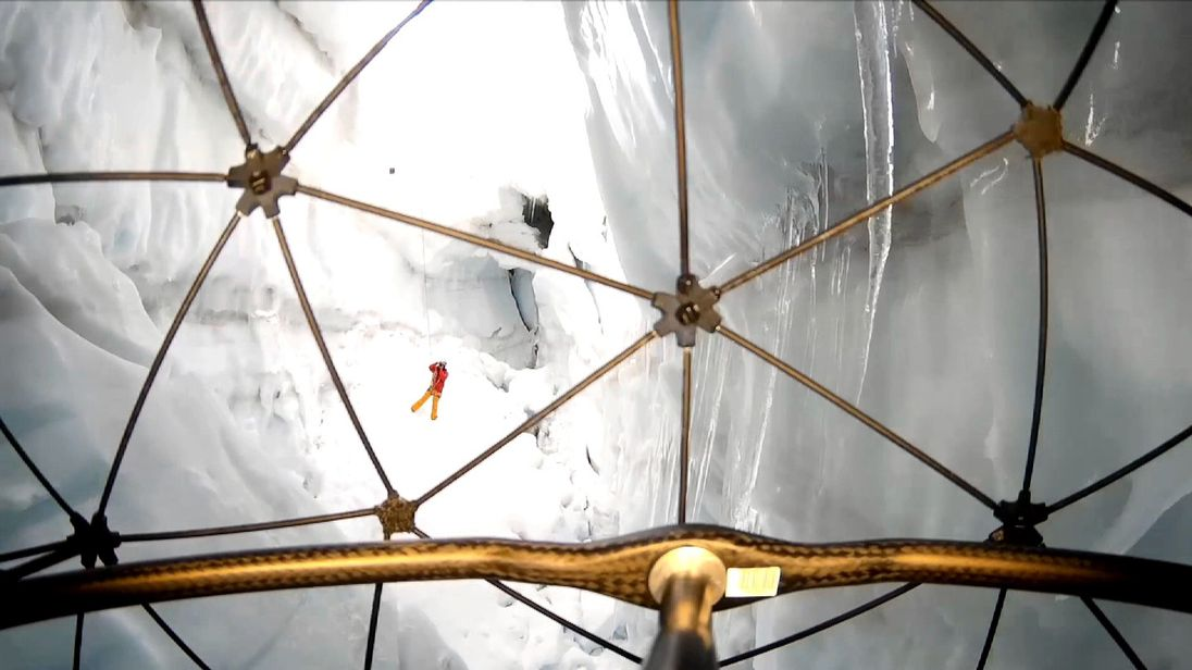 Picture: Flyability's Elios drone flying into a crevasse