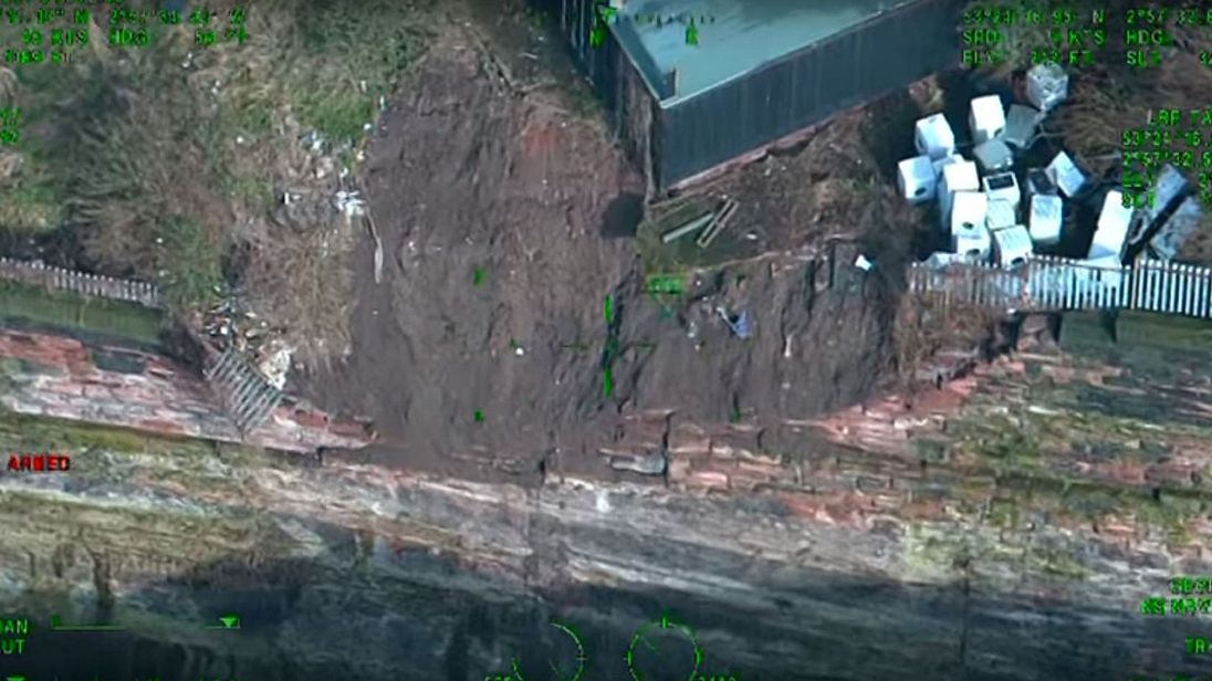 Aerial footage shows the damage following by a wall collapse