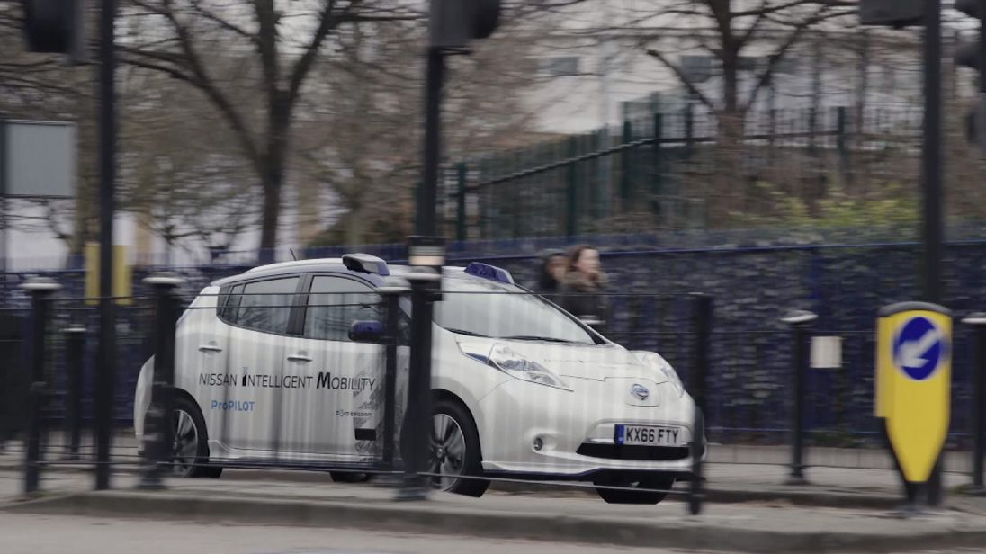 The modified Nissan Leaf driving itself around London