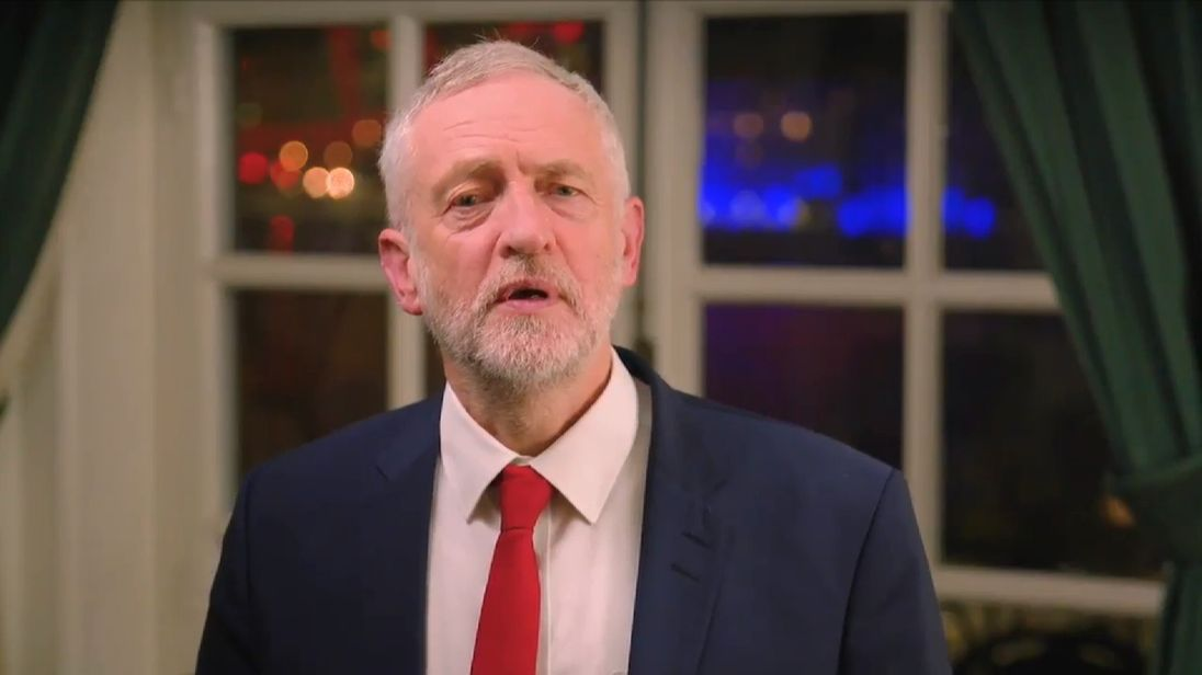 Jeremy Corbyn delivers a message to supporters on Twitter