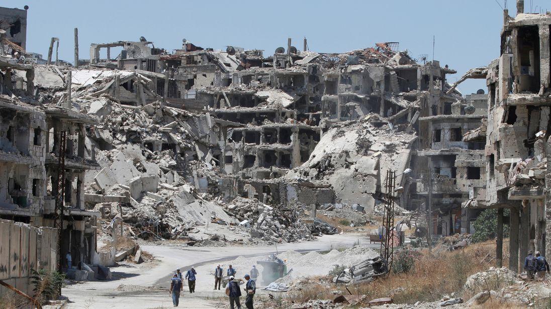 Ruined buildings in war-ravaged Homs