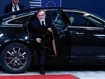 Tim Barrow arrives at the EU Council headquarters for as meeting before hand delivering notice of the UK's intention to leave the bloc