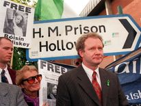 Martin McGuinness at Holloway Prison where he visited pregnant Roisin McAliskey, who was fighting extradition to Germany on bombing charges, 1997