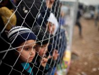 Displaced Iraqis who had fled their homes wait to enter Hammam al-Alil camp