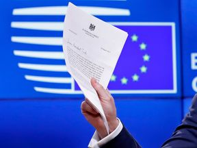European Council President Donald Tusk holds a news conference after receiving British Prime Minister Theresa May's Brexit letter in Brussels